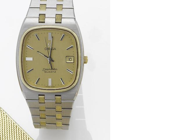 Omega. A stainless steel and gold centre seconds calendar bracelet watch  Seamaster, 1970's