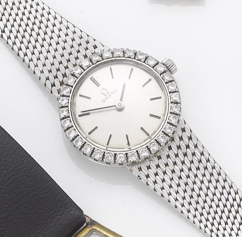 Omega. A lady's 18ct white gold diamond set bracelet watch 1960's