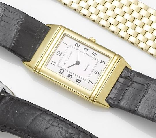 Jaeger LeCoultre. An 18ct gold reversible wristwatch together with fitted boxReverso, Sold June 12th 1986