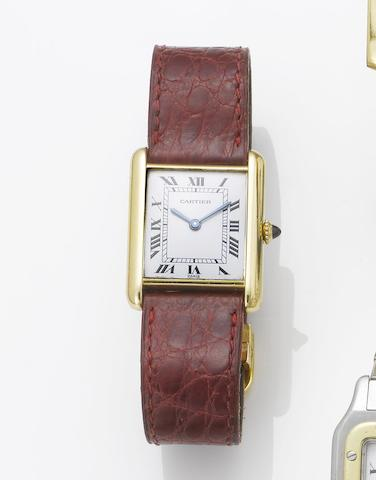 Cartier. An 18ct gold rectangular wristwatch Tank, 1990's