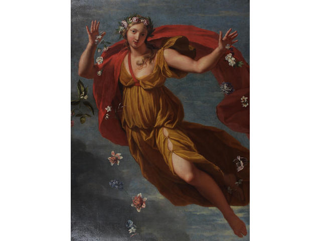 Follower of Carlo Maratta (Camerano 1625-1713 Rome) Flora 121 x 93cm Possibly cut down from a larger composition.
