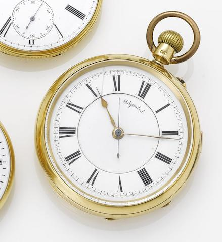 An 18ct gold open face chronograph pocket watch Chester Hallmark for 1903, Case and Movement No.90913