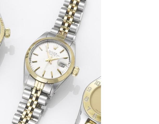 Rolex. A lady's stainless steel and gold automatic centre seconds calendar bracelet watch Date, 1974