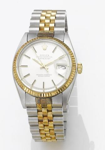 Rolex. A stainless steel and gold automatic centre seconds calendar bracelet watch Datejust, 1977