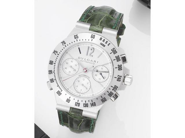 Bulgari. An 18ct white gold automatic split seconds chronograph wristwatchRattrapante, No.119, Recent
