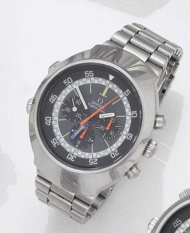 Omega. A fine stainless chronograph wristwatch with Omega bracelet Flightmaster, 1970's