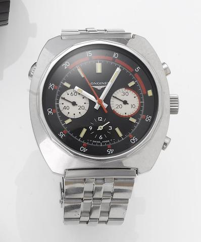 Longines. A stainless steel chronograph bracelet watch1970's