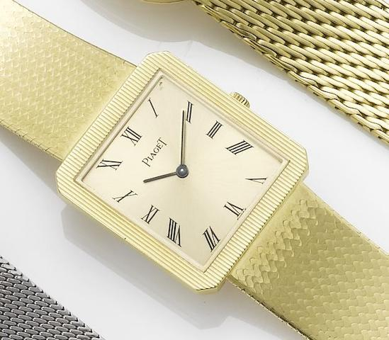 Piaget. An 18ct gold bracelet watch together with fitted box and papersSold March 29th 1990