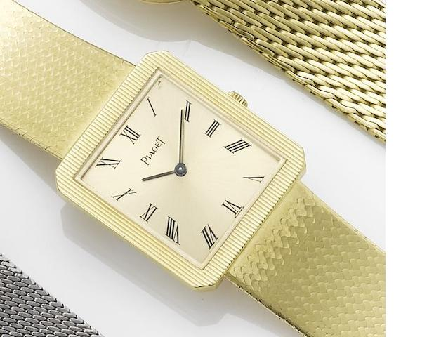 Piaget. An 18ct gold bracelet watch together with fitted box and papers Sold March 29th 1990