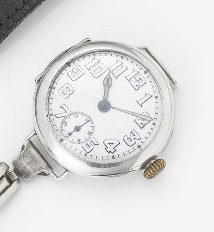 Rolex. An early 20th century silver wristwatch London Import mark for 1916