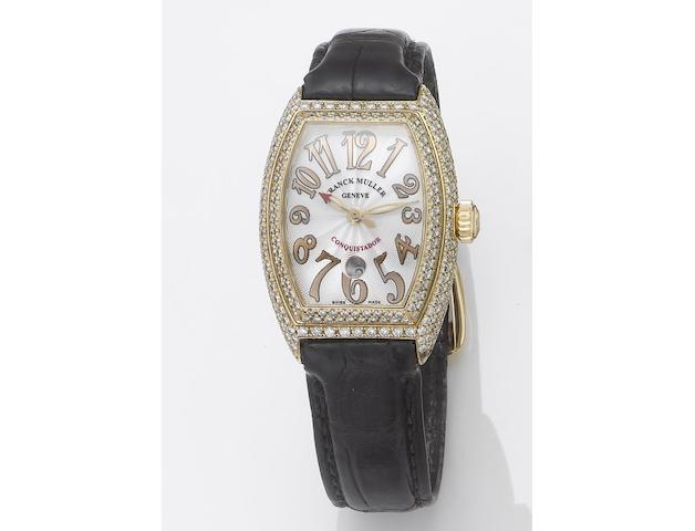 Franck Muller. A fine lady's 18ct rose gold diamond set automatic centre seconds calendar wristwatchConquistador, Ref:8002LSC, Case No.444, No.114, Sold November 2003