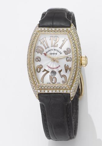 Franck Muller. A fine lady's 18ct rose gold diamond set automatic centre seconds calendar wristwatchConquistador, Ref:8002LSC, Case No.444, No.114, Sold November 2003