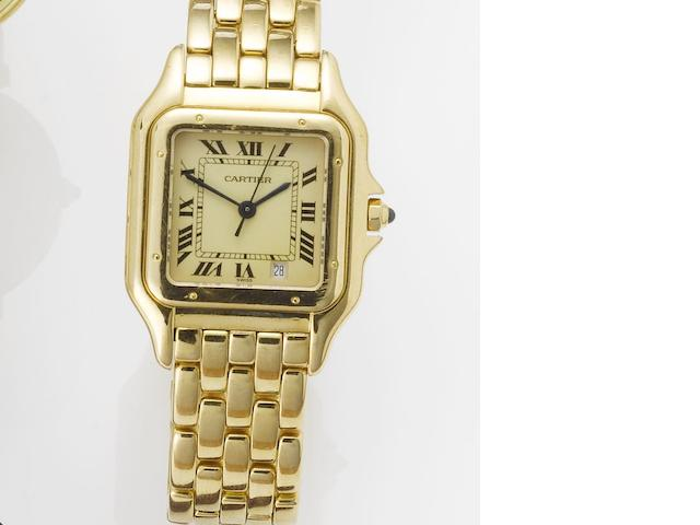 Cartier. An 18ct gold centre seconds calendar bracelet watch Panthere, 1990's