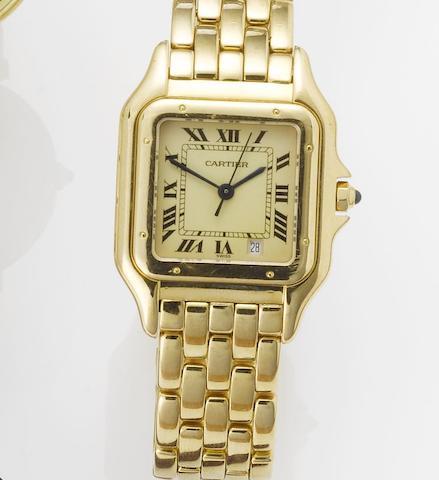 Cartier. An 18ct gold centre seconds calendar bracelet watch Panthere, 1990's