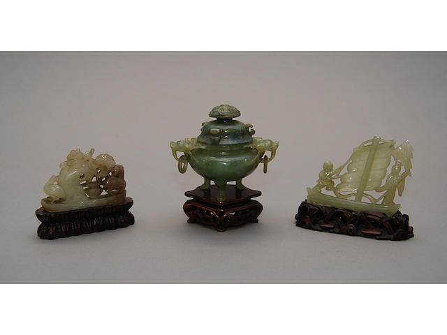 Three jadeite figures