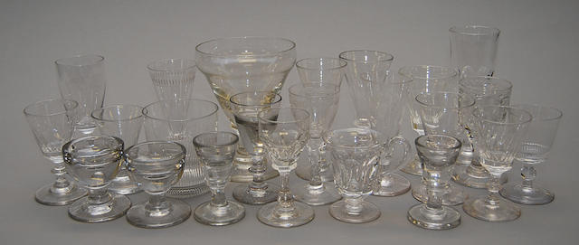 A collection of various 18th and 19th Century drinking glasses