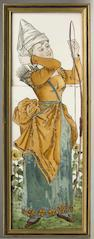 A Minton three tile panel by Henry Stacey Marks (1829-1898) late 19th Century