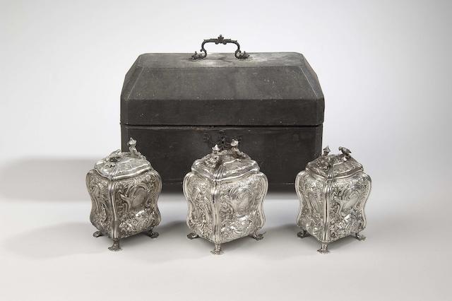 A set of three George III silver graduated tea caddies by Edward Aldridge London 1759  (4)