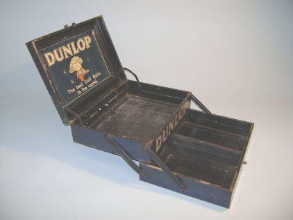 A very good condition dark blue metal two tier Dunlop Golf Ball dispenser tin circa 1910s,