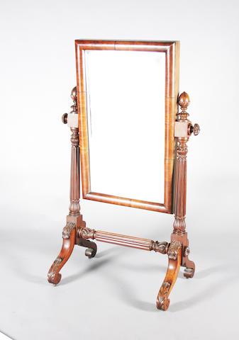 A William IV mahogany cheval mirror