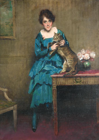 Belgian School, 19th Century  Joung girl with a cat