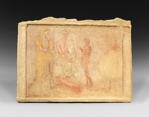 A Hellenistic terracotta funerary wall painting