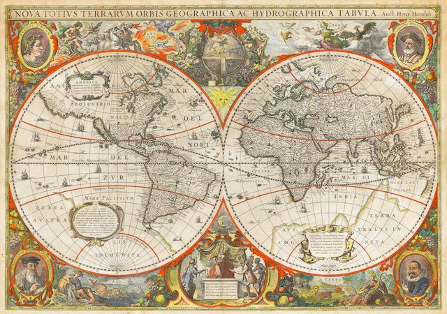 WORLD HONDIUS (HENRICUS) Nova totius terrarum geographica ac hydrographica tabula