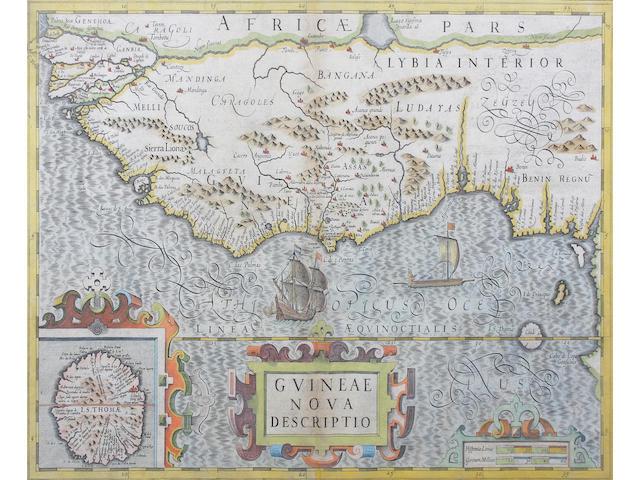 Map:  Guinea Mercator (Gerard)/Hondius (Jodocus) Guinea Nova Descriptio 34.5 x 49cm.