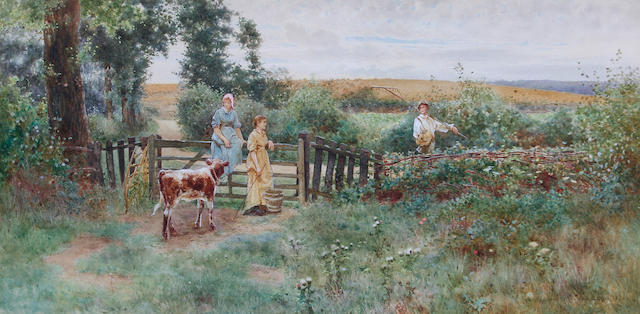 Thomas James Lloyd, RWS (British, 1849-1910) A countryside landscape with milkmaids by a gateway and a farmer boy on a country path,