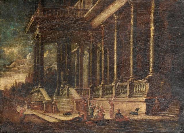 Follower of François de Nomé (Metz 1593-circa 1644 Naples) Elegant figures playing music before an a
