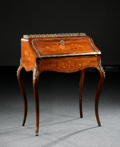 A Louis XV-style walnut and marquetry bureau de dame, late 19th Century