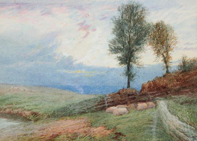 """Myles Birket Foster, RWS (British, 1825-1899) """"Sunset on the hills"""","""