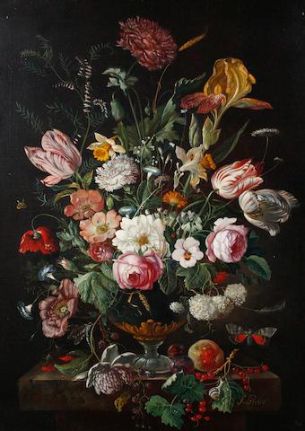 Franz Xaver Pieler (Vienna 1879-1952 Klosterberg) Still life of mixed flowers in a vase