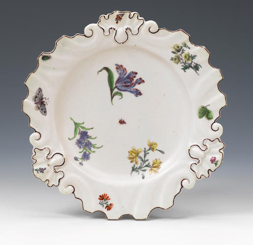 A Chelsea flower painted dish
