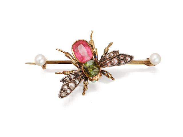 A Victorian diamond and gem-set bee brooch