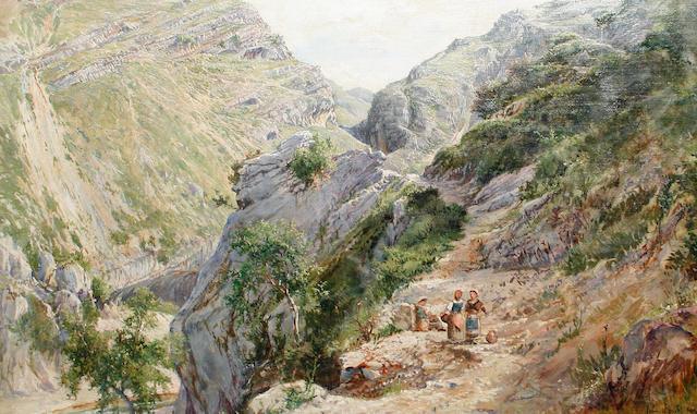 Follower of John Brett, ARA (British, 1831-1902) Peasant women in an Italian landscape