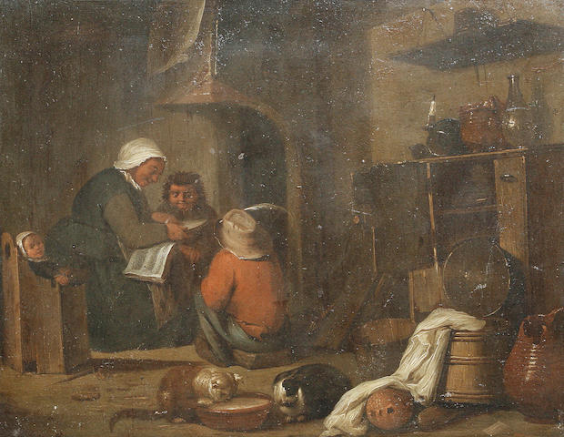 Manner of David Teniers the Younger, 18th Century A woman reading a book to her children in a kitche