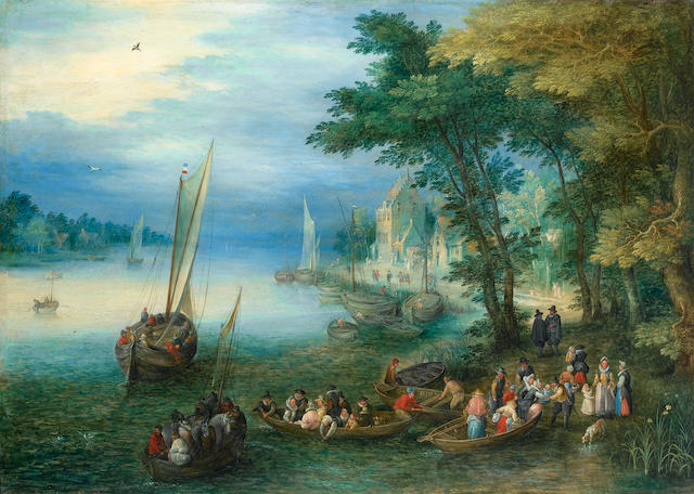 After Jan Brueghel the Elder A river landscape with figures disembarking from a ferry