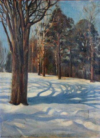 Berndt Lagerstam (Finnish, 1868-1930) Winter woodland scene,