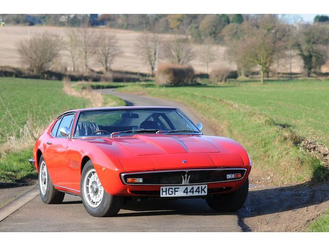 1972 Maserati Ghibli SS 4.9-Litre Coupé  Chassis no. AM115/49.2472 Engine no. AM114/49.2472