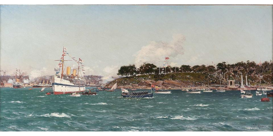 "Edoardo de Martino (Italian, 1838-1912) The chartered Royal Yacht ""Ophir"" disembarking Their Royal Highnesses The Duke and Duchess of York in Sydney Harbour on 6th May 1901, signed 'E.de Martino' (lower right), oil on canvas. 14x30in(35.6x76.2cm)"