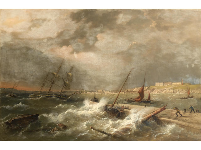 Richard Brydges Beechey (British, 1808-1895) 'Wild weather in the Sound (Plymouth)'