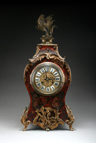 A 19th Century French boulle and ebonised bracket clock Anonymous sold with pendulum