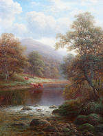 "William Mellor (British, 1851-1931) ""Pont Aberglaslyn, North Wales"", and ""On the Wharfe, near Beamsley, Yorkshire"", a pair,"