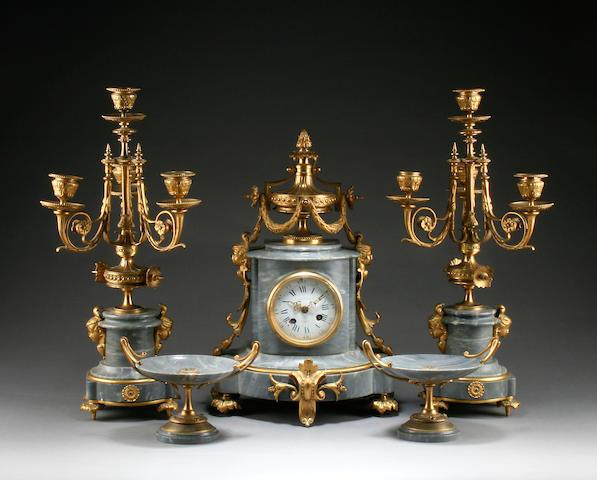 A late 19th Century ormolu-mounted grey marble mantel clock and four-piece garniture Bozzo, Angers 5