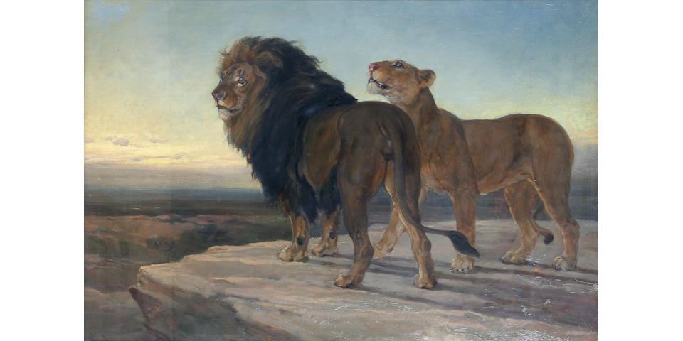 Heywood Hardy (British, 1843-1933) Lion and lioness,