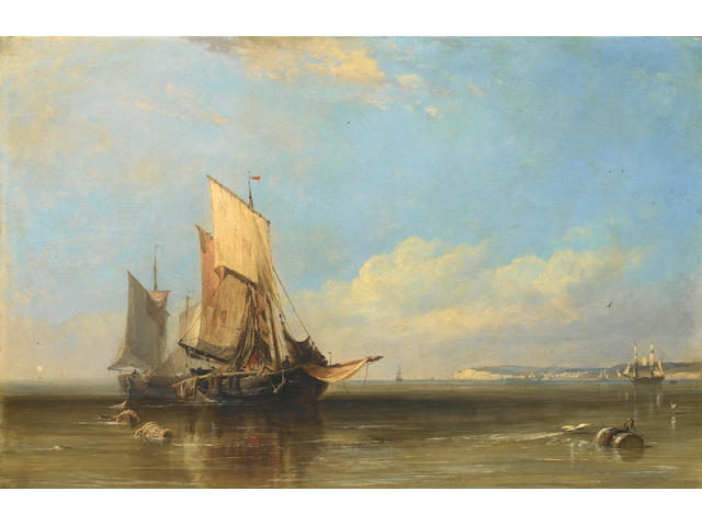 Edward William Cooke, RA (British, 1811-1880) Honfleur fishing boats becalmed, Havre in the distance