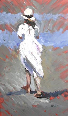 Sherree Valentine-Daines (British, born 1956) Girl in a white dress on a beach
