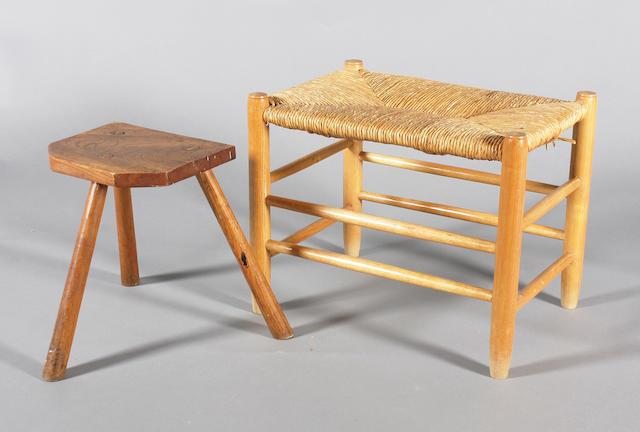 A Neville Neal turned ash frame stool