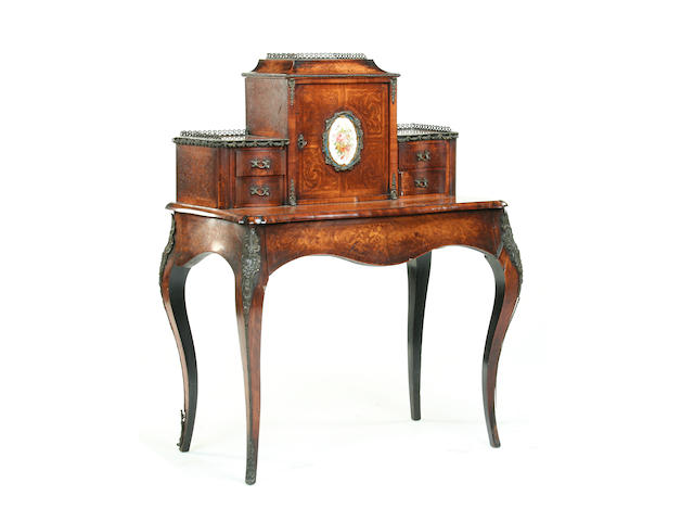 A Victorian tulipwood, kingwood, walnut  and marquetry bonheur du jour